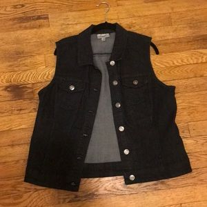 DressBarn Cute BlackDenim Button Up Vest Womens XL